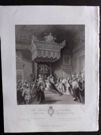 London Interiors 1841 Antique Print. The Throne Investiture. St. James's Palace